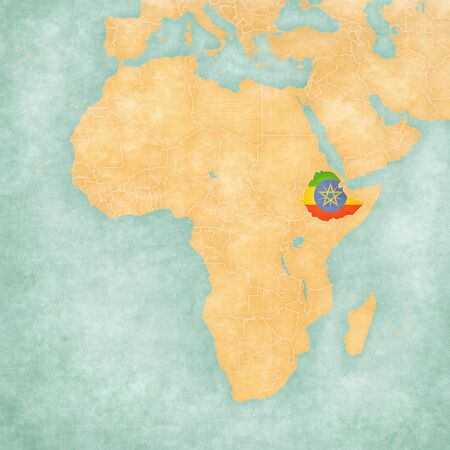 ethiopian: Ethiopia (Ethiopian flag) on the map of Africa in soft grunge and vintage style, like watercolor painting on old paper.