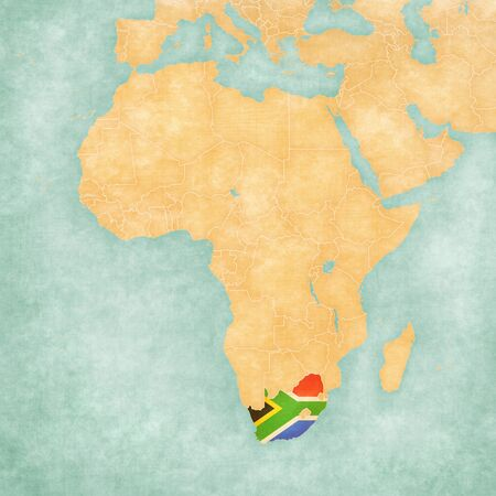 south african: South Africa (South African flag) on the map of Africa. The map is in soft grunge and vintage style, like watercolor painting on old paper.