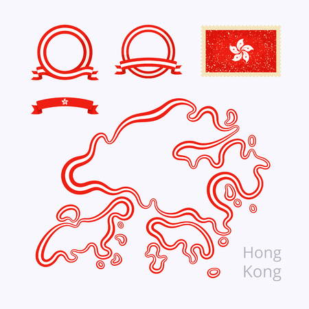 national colors: Outline map of Hong Kong. Border is marked with ribbon in national colors. The package contains frames in national colors and stamp with flag.