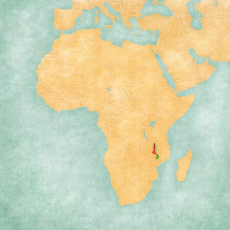 malawian: Malawi (Malawian flag) on the map of Africa. The map is in soft grunge and vintage style, like watercolor painting on old paper.