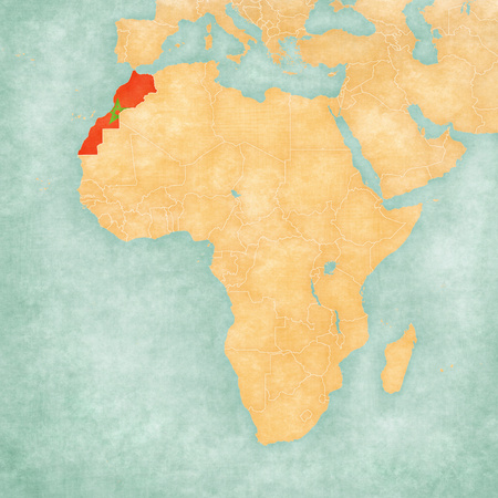 mainland: Morocco with Western Sahara (Moroccan flag) on the map of Africa. The map is in soft grunge and vintage style, like watercolor painting on old paper.