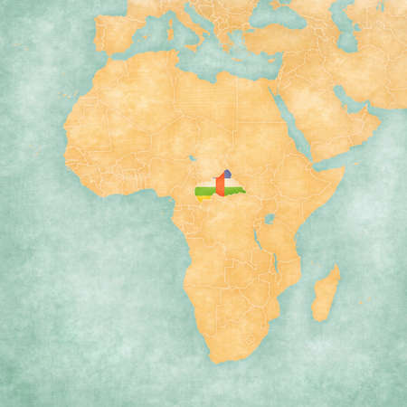 central african republic: Central African Republic (Central African flag) on the map of Africa. The map is in soft grunge and vintage style, like watercolor painting on old paper.
