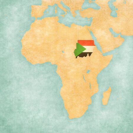 Sudán (bandera de Sudán) en el mapa de África. El mapa está en grunge suave y estilo de época, como la pintura de acuarela sobre papel viejo.