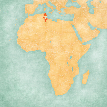 mainland: Tunisia (Tunisian flag) on the map of Africa. The map is in soft grunge and vintage style, like watercolor painting on old paper.