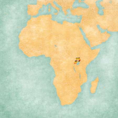 mainland: Uganda (Ugandan flag) on the map of Africa. The map is in soft grunge and vintage style, like watercolor painting on old paper.