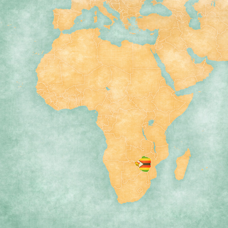 mainland: Zimbabwe (Zimbabwean flag) on the map of Africa. The map is in soft grunge and vintage style, like watercolor painting on old paper. Stock Photo