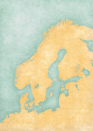 scandinavia: Blank map of Scandinavia with country borders. The map is in soft grunge and vintage style, like watercolor painting on old paper.