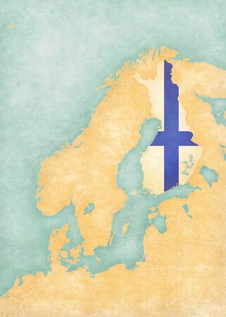 scandinavia: Finland (Finnish flag) on the map of Scandinavia. The map is in soft grunge and vintage style, like watercolor painting on old paper.