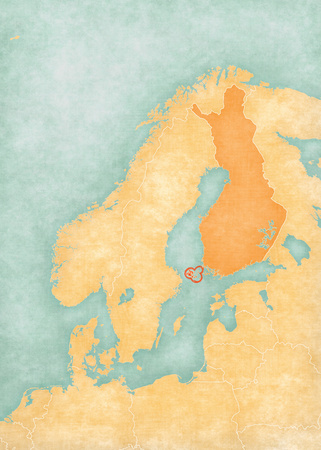 scandinavia: Aland Islands (Finland) on the map of Scandinavia. The map is in soft grunge and vintage style, like watercolor painting on old paper.