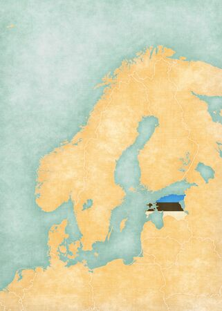 scandinavia: Estonia (Estonian flag) on the map of Scandinavia. The map is in soft grunge and vintage style, like watercolor painting on old paper.