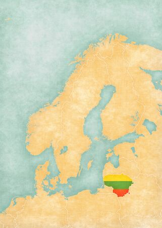 scandinavia: Lithuania (Lithuanian flag) on the map of Scandinavia. The map is in soft grunge and vintage style, like watercolor painting on old paper. Stock Photo