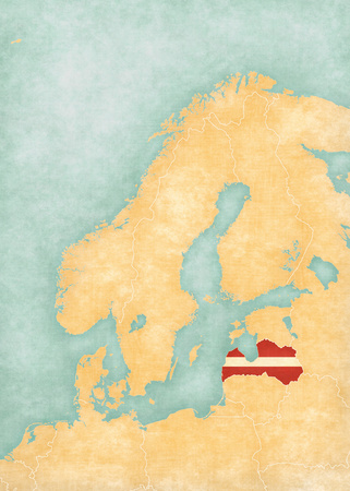 scandinavia: Latvia (Latvian flag) on the map of Scandinavia. The map is in soft grunge and vintage style, like watercolor painting on old paper.