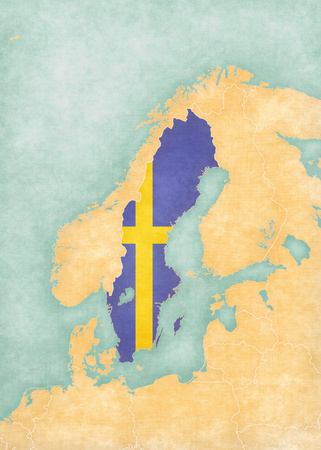 scandinavia: Sweden (Swedish flag) on the map of Scandinavia in soft grunge and vintage style, like watercolor painting on old paper.