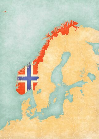 scandinavia: Norway (Norwegian flag) on the map of Scandinavia in soft grunge and vintage style, like watercolor painting on old paper. Stock Photo