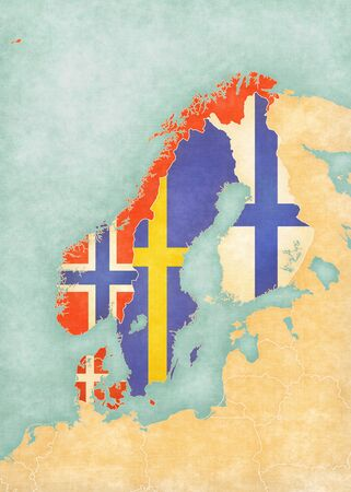 Flags of all countries on the map of Scandinavia in soft grunge and vintage style, like watercolor painting on old paper. Standard-Bild