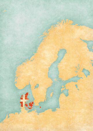 danish flag: Denmark (Danish flag) on the map of Scandinavia  in soft grunge and vintage style, like watercolor painting on old paper.