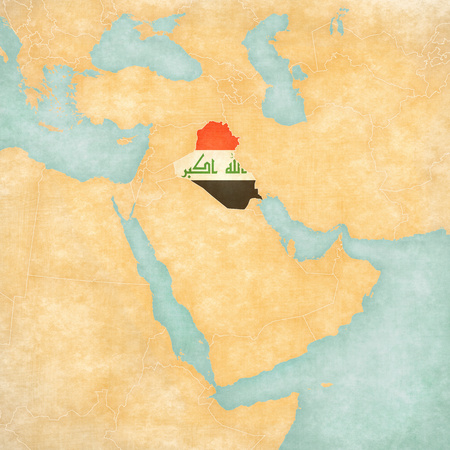 middle east map: Iraq (Iraqi flag) on the map of Middle East (Western Asia) in soft grunge and vintage style, like watercolor painting on old paper.