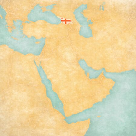middle east map: Georgia (Georgian flag) on the map of Middle East (Western Asia) in soft grunge and vintage style, like watercolor painting on old paper.