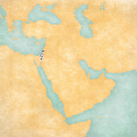 Israel (plus West Bank, Gaza) on the map of Middle East (Western Asia) in soft grunge and vintage style, like old paper with watercolor painting. Stock Photo