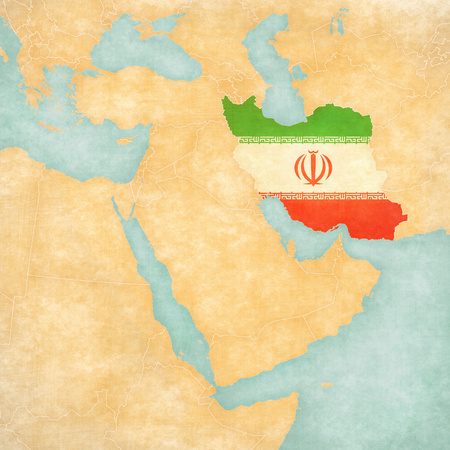 middle east map: Iran (Iranian flag) on the map of Middle East (Western Asia) in soft grunge and vintage style, like old paper with watercolor painting.