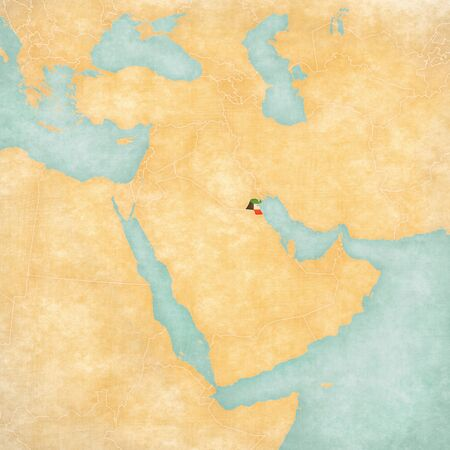 middle east map: Kuwait (Kuwaiti flag) on the map of Middle East (Western Asia) in soft grunge and vintage style, like old paper with watercolor painting. Stock Photo