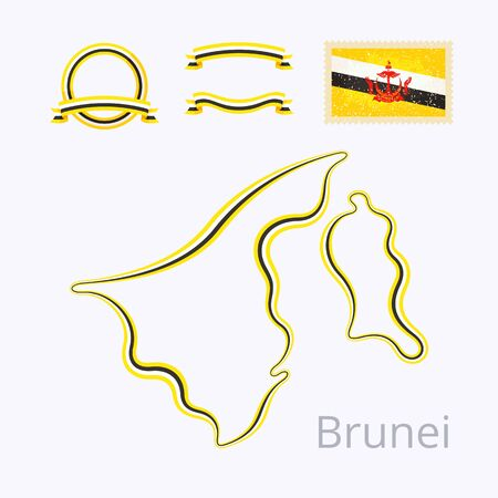 national colors: Outline map of Brunei marked with line in national colors, ribbons and stamp with flag.