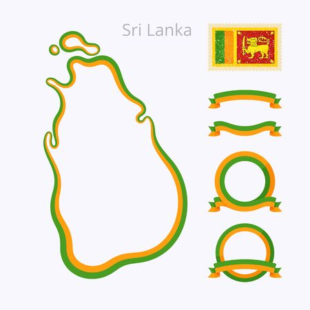 Outline map of Sri Lanka marked with line in national colors, ribbons and stamp with flag. Illustration