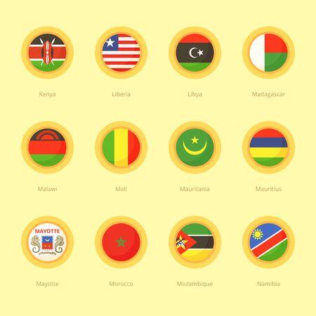 mayotte: Circular flags of Kenya, Liberia, Libya, Madagascar, Malawi, Mali, Mauritania, Mauritius, Mayotte, Morocco, Mozambique and Namibia. Flat design style. Illustration