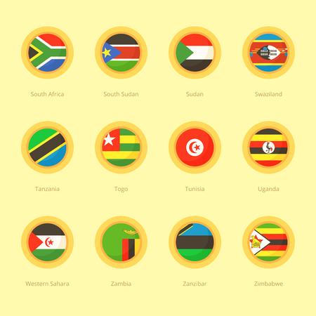 rsa: Circular flags of South Africa, South Sudan, Sudan, Swaziland, Tanzania, Togo, Tunisia, Uganda, Western Sahara, Zambia, Zanzibar and Zimbabwe. Flat design style.