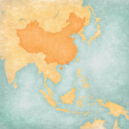 the mainland: Hong Kong (China flag) on the map of East and Southeast Asia in soft grunge and vintage style, like old paper with watercolor painting. Stock Photo