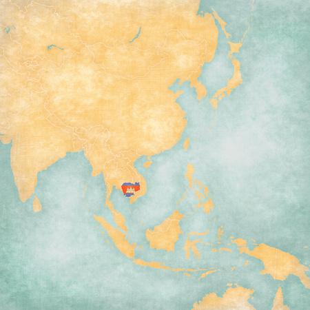 Cambodia (Cambodian flag) on the map of East and Southeast Asia in soft grunge and vintage style, like old paper with watercolor painting. Stock Photo