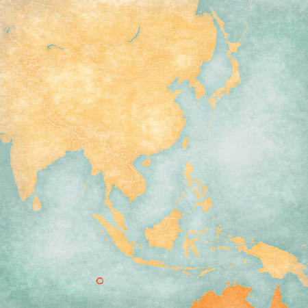 Cocos Islands (Australia) on the map of East and Southeast Asia in soft grunge and vintage style, like old paper with watercolor painting. Stock Photo