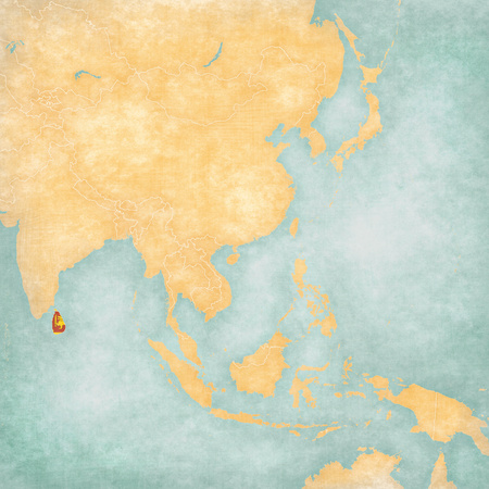 sri lankan flag: Sri Lanka (Sri Lankan flag) on the map of East and Southeast Asia in soft grunge and vintage style, like old paper with watercolor painting. Stock Photo