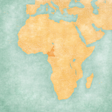 Cameroon on the map of Africa in soft grunge and vintage style, like old paper with watercolor painting.