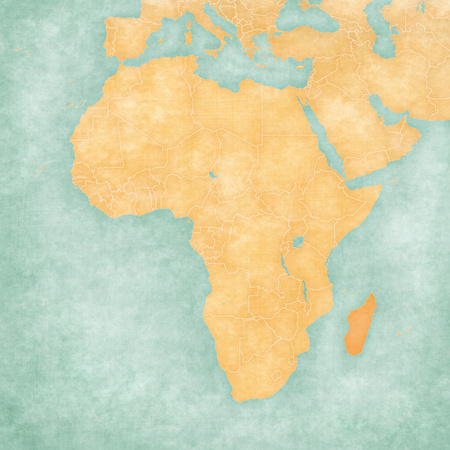 Madagascar on the map of Africa in soft grunge and vintage style, like old paper with watercolor painting.