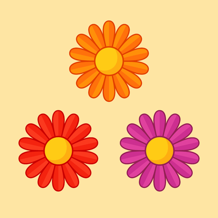 Simple illustration of orange, red and violet flower with contour. Separate bloom.