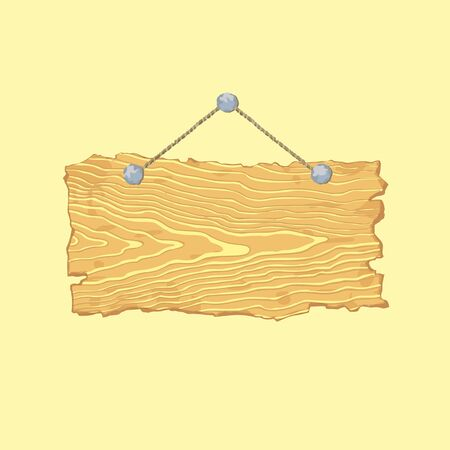 Bright hanging blank isolated old wooden sign.