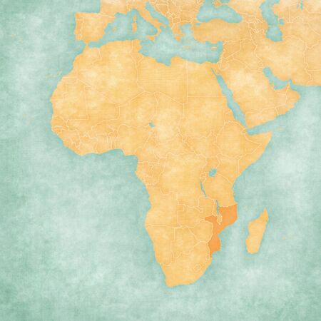 Mozambique on the map of Africa in soft grunge and vintage style, like old paper with watercolor painting.