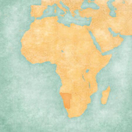 Namibia on the map of Africa in soft grunge and vintage style, like old paper with watercolor painting.