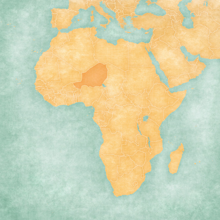 Niger on the map of Africa in soft grunge and vintage style, like old paper with watercolor painting.