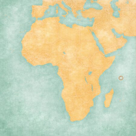 Seychelles on the map of Africa in soft grunge and vintage style, like old paper with watercolor painting. Stock Photo