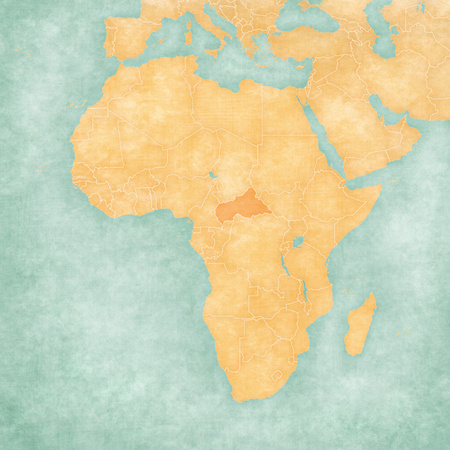 Central African Republic on the map of Africa in soft grunge and vintage style, like old paper with watercolor painting.