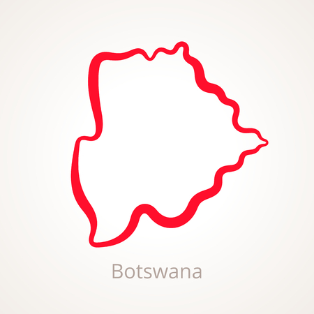 Outline map of Botswana marked with red line.