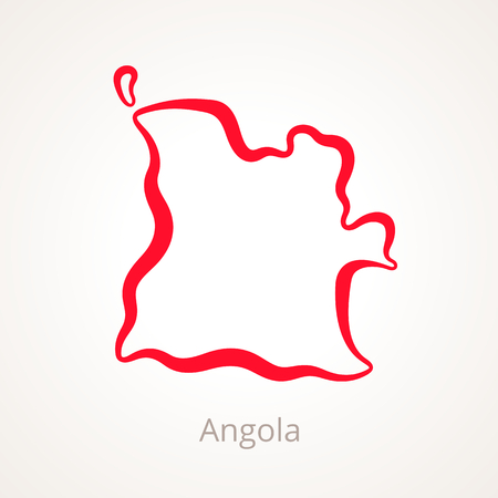 Outline map of Angola marked with red line. Illustration