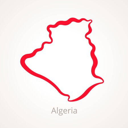 Outline map of Algeria marked with red line.