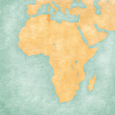 Tunisia on the map of Africa in soft grunge and vintage style, like old paper with watercolor painting.