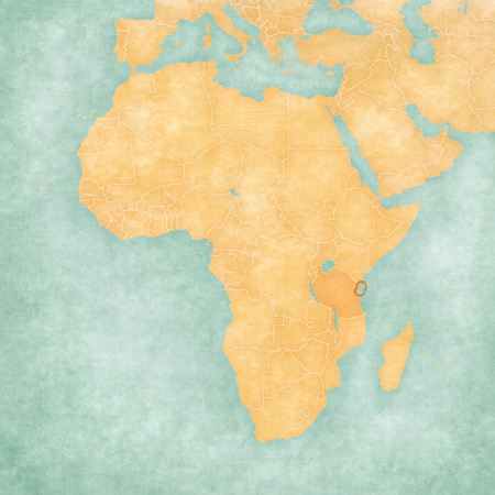 Zanzibar on the map of Africa in soft grunge and vintage style, like old paper with watercolor painting.
