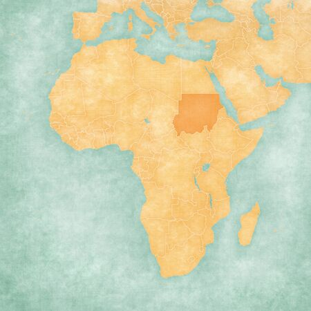 Sudan on the map of Africa in soft grunge and vintage style, like old paper with watercolor painting.