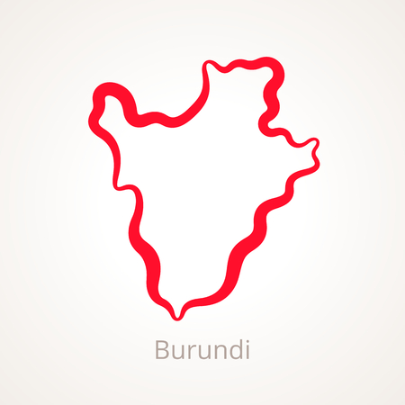 Outline map of Burundi marked with red line. Illustration