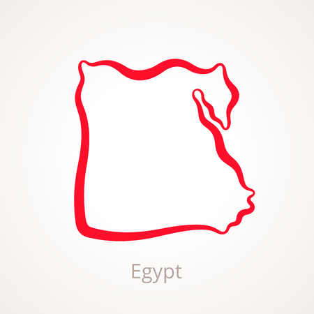 Outline map of Egypt marked with red line. Illustration